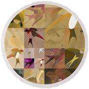 Arraygraphy - Birdies Sepia, Part 1 Round Beach Towel
