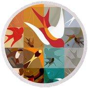 Arraygraphy - Birdies Triptych Part2 Round Beach Towel