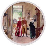 Arrival At The Inn Round Beach Towel by Charles Edouard Delort