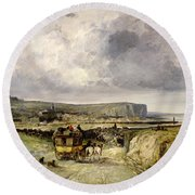 Arrival Of A Stagecoach At Treport Round Beach Towel
