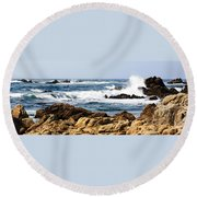 Arriving Tide At Pebble Beach Round Beach Towel