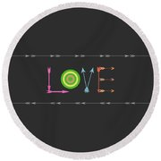 Arrow Love - Changeable Background Color Round Beach Towel
