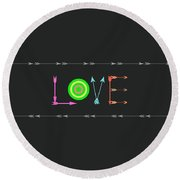Arrow Love Round Beach Towel