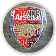 Arsenal Football Team Emblem Recycled Vintage Colorful License Plate Art Round Beach Towel