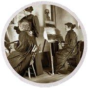 Art Class Oil Painting Teacher  And Art Students 1900 Round Beach Towel