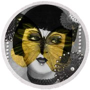 Art Deco Butterfly Woman Round Beach Towel