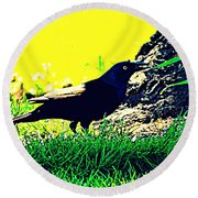 Art Deco Grackle Round Beach Towel