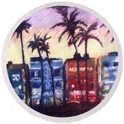 Art Deco Miami Round Beach Towel