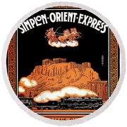 Art Deco Orient Express Advertising Athens Round Beach Towel
