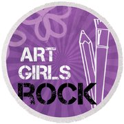 Art Girls Rock Round Beach Towel by Linda Woods