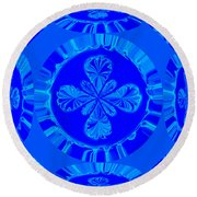 Art In Blue Round Beach Towel