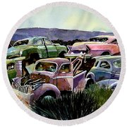 Art In The Orchard Round Beach Towel