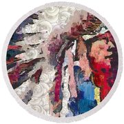 Art Indian Chief Pearlesques In Fragments  Round Beach Towel