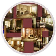 Art Institute Of Chicago Miniature Room Collage Round Beach Towel