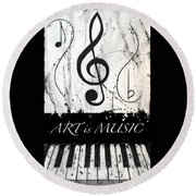 Art Is Music-music In Motion Round Beach Towel