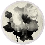 Art Is The Hibiscus -black And White Round Beach Towel