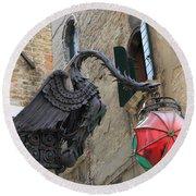 Art Nouveau Dragon In Marzaria Venice Italy Round Beach Towel