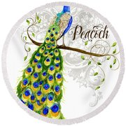Art Nouveau Peacock W Swirl Tree Branch And Scrolls Round Beach Towel
