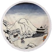 Art Of Buddhism And Shintoism And Two Paths In The Snow Round Beach Towel