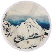 Art Of Japan And The Two Paths Of Shintoism And Buddhism - Holy Men In The Snow Without Abraham Round Beach Towel