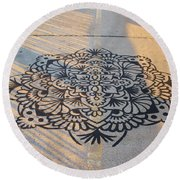 Art On Manhattan Bridge Round Beach Towel