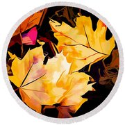 Artful Maple Leaves Round Beach Towel