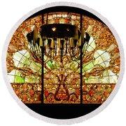 Artful Stained Glass Window Union Station Hotel Nashville Round Beach Towel by Susanne Van Hulst