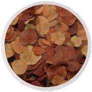 Artfully Scattered Sea Grape Leaves Round Beach Towel