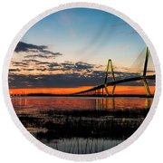 Arthur Ravenel Bridge Twilight Round Beach Towel