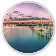 Arthur Ravenel Jr. Bridge Light Trails Round Beach Towel