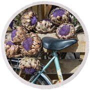 Artichoke Flowers With Bicycle Round Beach Towel