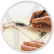 Artist At Work - Michelle Wie Part 3 Round Beach Towel