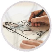 Artist At Work - So Yeon Ryu Part 3 Round Beach Towel