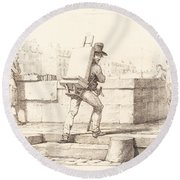 Artist Carrying Easel With A Lithographic Stone Round Beach Towel