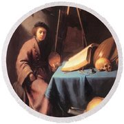 Artist In His Studio 1632 Round Beach Towel