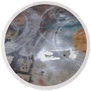 Artist Sidewalk 3 Round Beach Towel