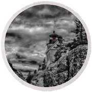Artistic Bass Harbor Lighthouse In Acadia Round Beach Towel