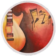 Artistic Guitar With Musical Notes Round Beach Towel