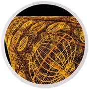 Artistic Led Lights Christmas Decoration At Sol In Madrid, Spain. Round Beach Towel