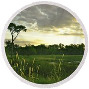 Artistic Lush Marsh Round Beach Towel