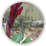 Artistic Red Canna Lily Round Beach Towel