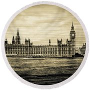 Artistic Vision Of Elizabeth Tower Big Ben And Westminster Round Beach Towel