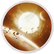 Artists Concept Of 51 Pegasi Round Beach Towel