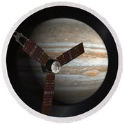 Artists Concept Of The Juno Spacecraft Round Beach Towel by Stocktrek Images