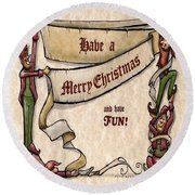 Merry Christmas Elves Round Beach Towel