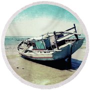 Waiting For The Tide Round Beach Towel
