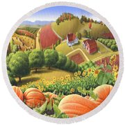 Farm Landscape - Autumn Rural Country Pumpkins Folk Art - Appalachian Americana - Fall Pumpkin Patch Round Beach Towel
