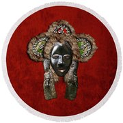 Dan Dean-gle Mask Of The Ivory Coast And Liberia On Red Velvet Round Beach Towel by Serge Averbukh