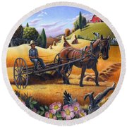 Raking Hay Field Rustic Country Farm Folk Art Landscape Round Beach Towel