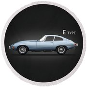 The 65 E-type Coupe Round Beach Towel
